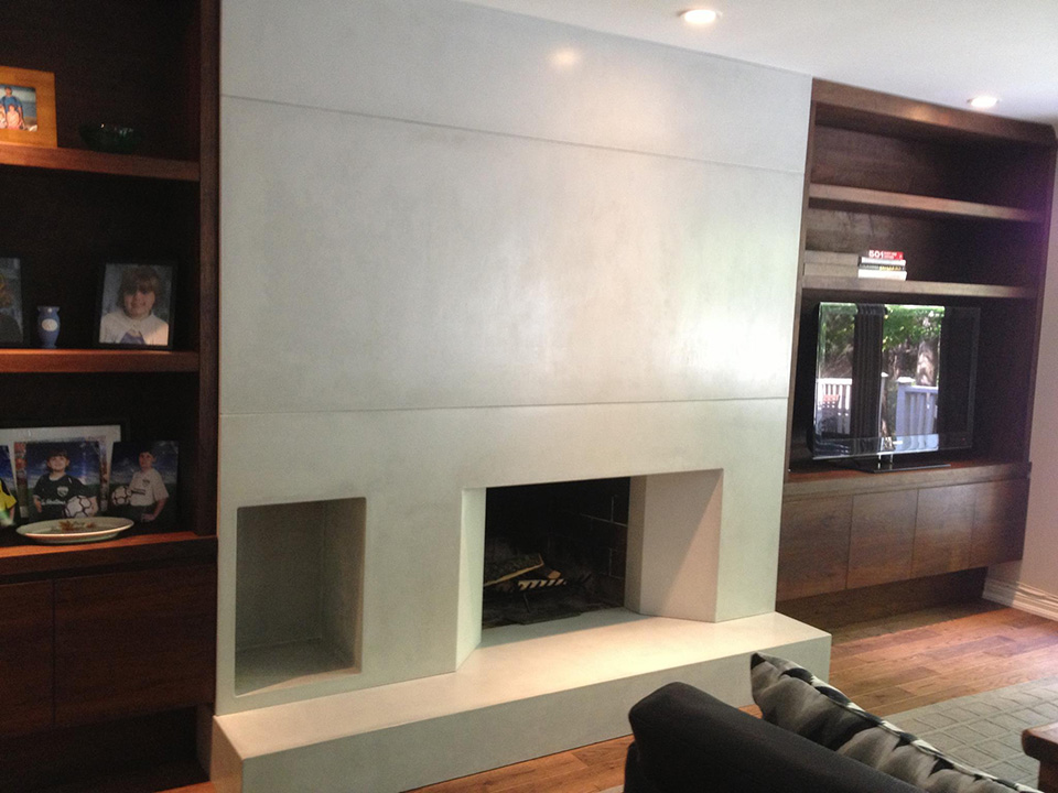 Residential fireplace wall installation complete