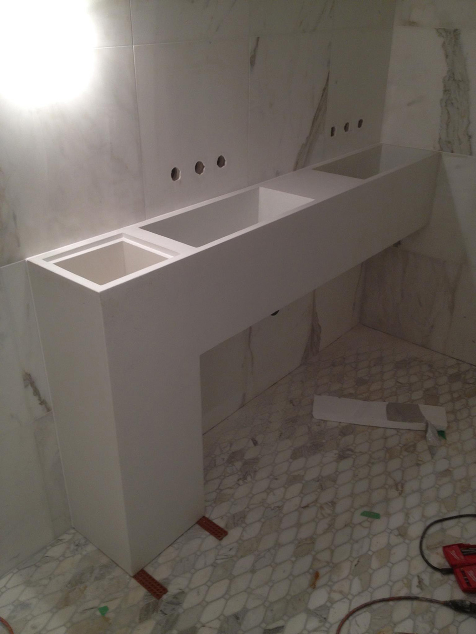 Custom sink for Patria restaurant in Toronto being installed