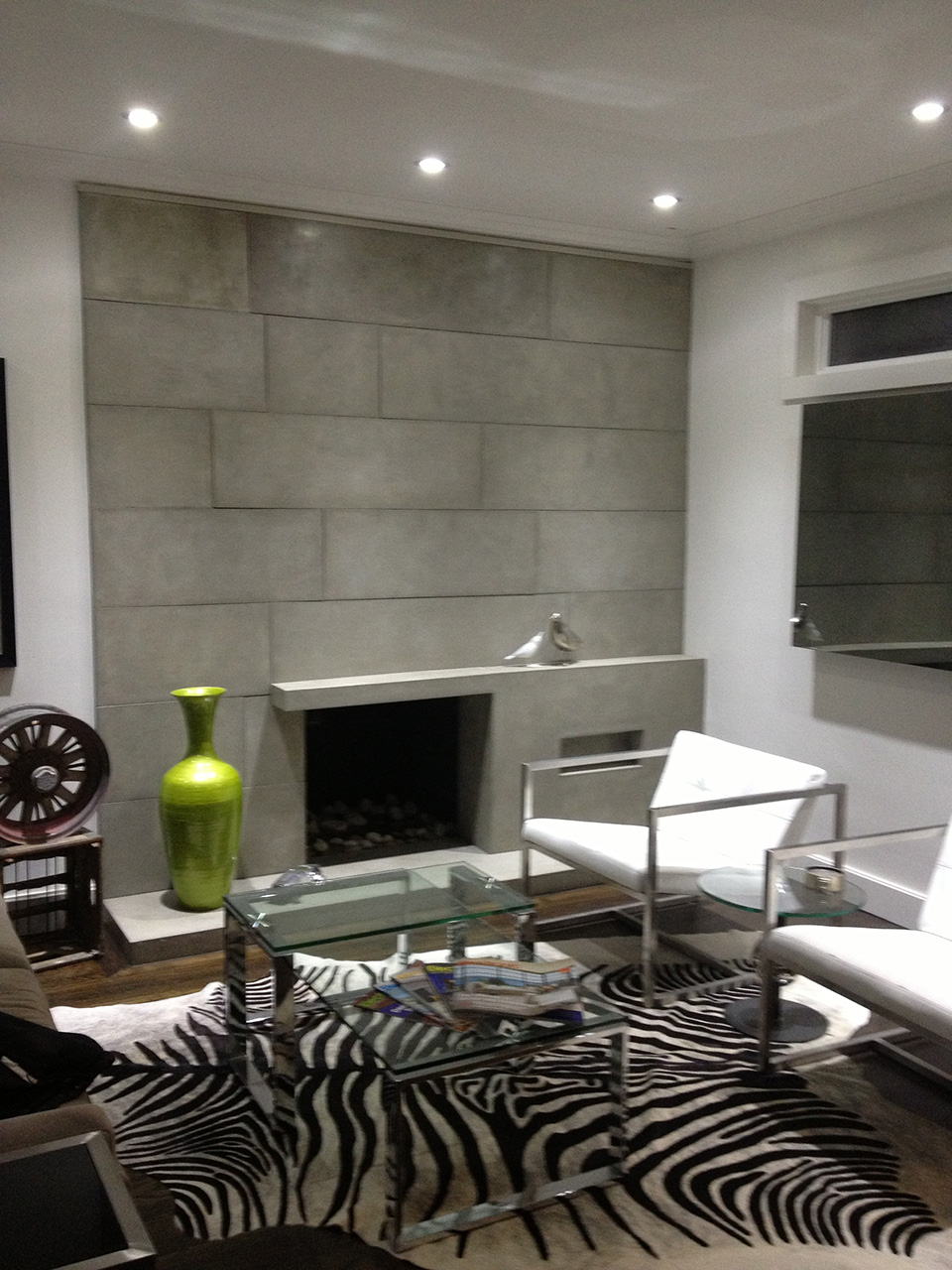 Concrete fireplace and wall panels