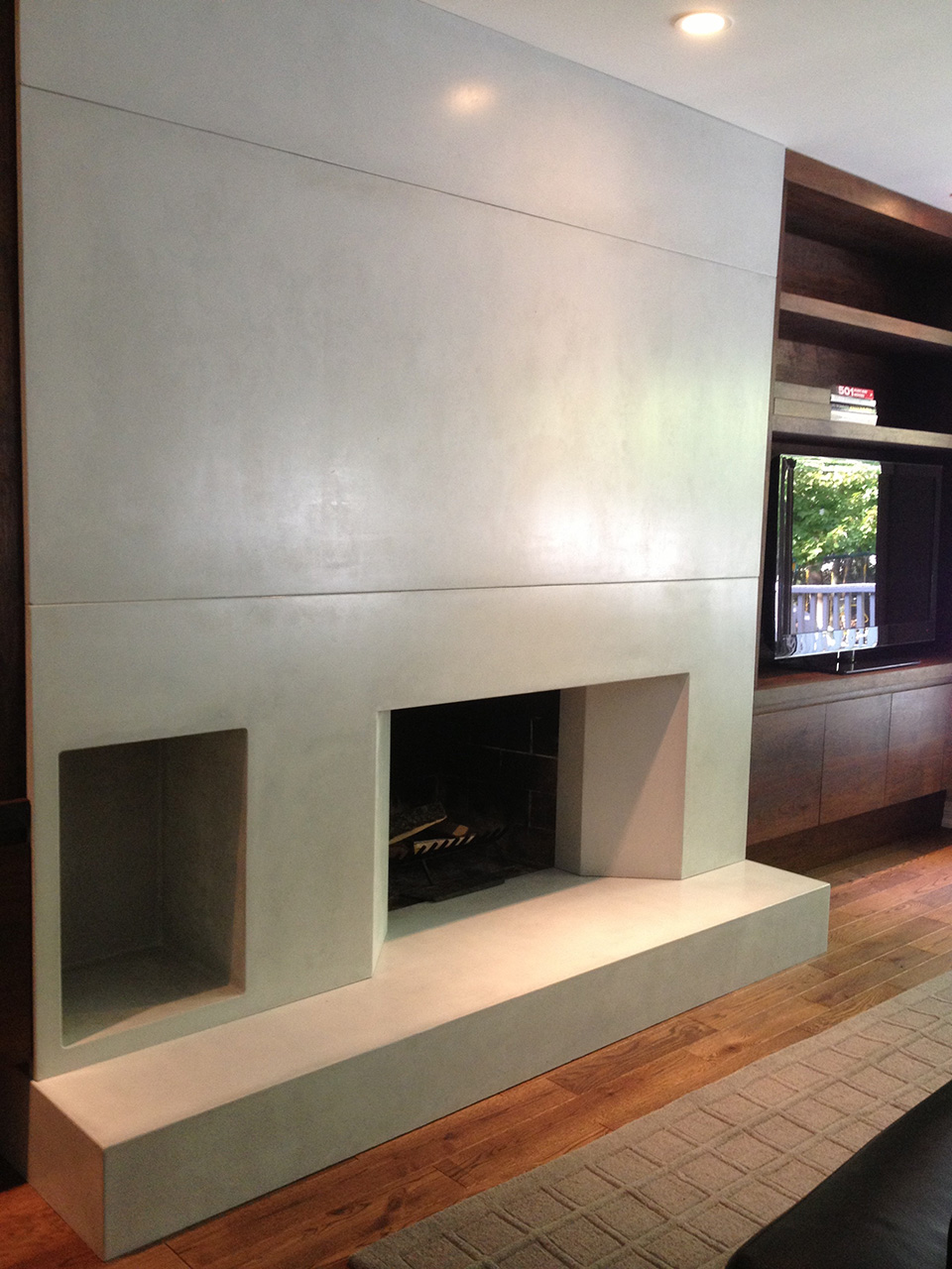 Custom fireplace and built-in cabinetry