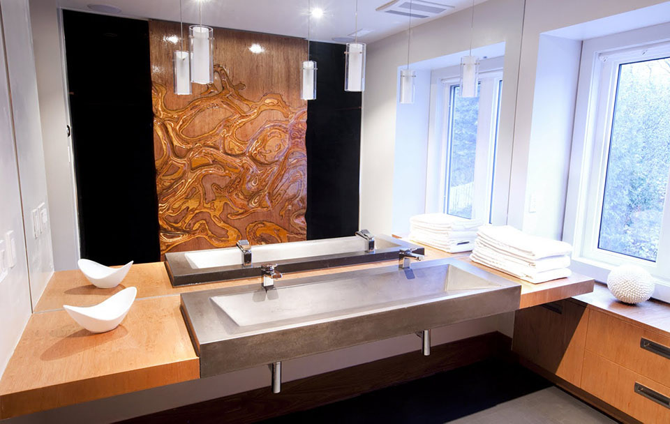 Mag's Concrete Works, concrete bathroom countertop double sinks